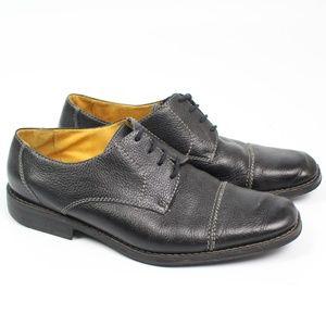 Sandro Moscoloni Black Leather Oxford Cap Toe Shoe
